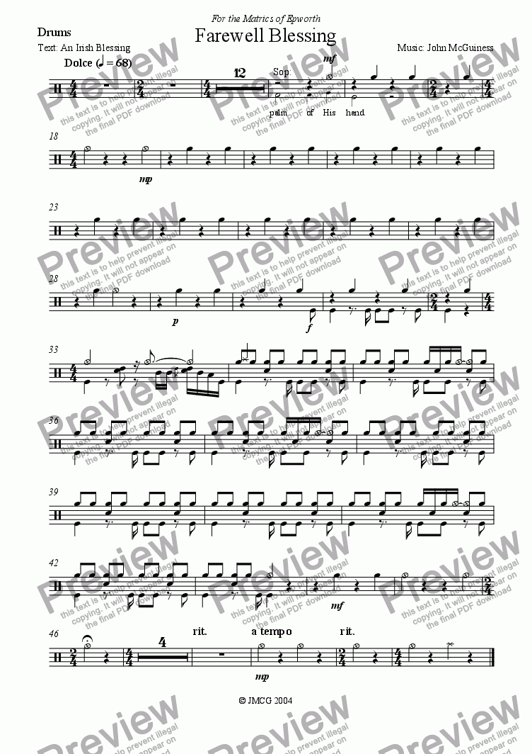page one of the Drums part from Farewell Blessing
