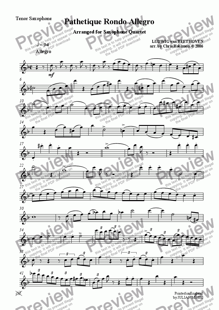 page one of the Tenor Sax part from Pathetique Rondo Allegro - for Sax Quartet