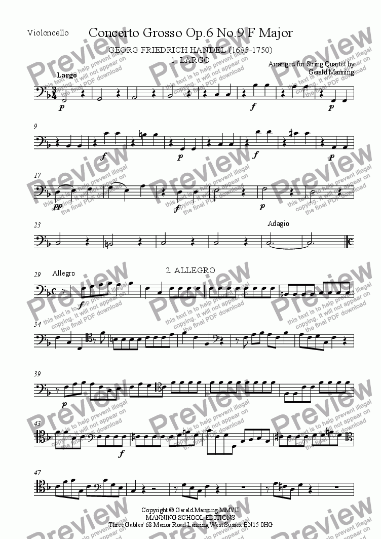 page one of the Violoncello part from HANDEL, G.F. - Concerto Grosso Op, 6 No.9 in FMajor - arr. for String Quartet by Gerald Manning