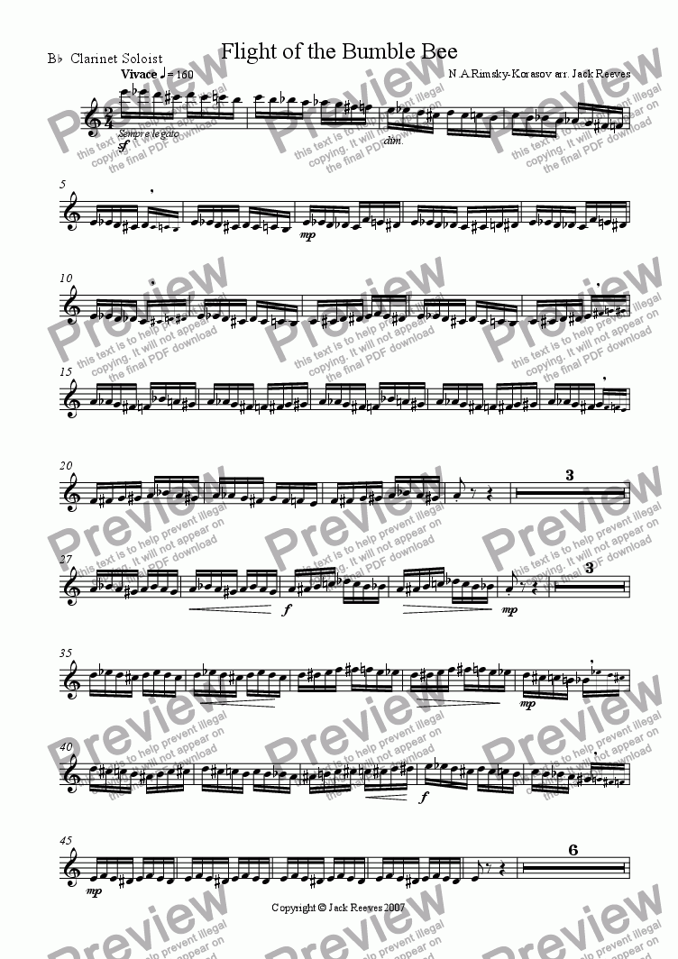 page one of the Clarinet Soloist part from Flight of the Bumble Bee (Wind Band - Clarinet Solo)