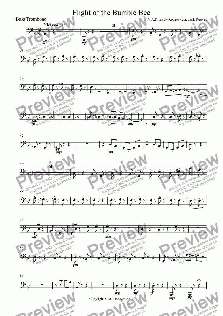 page one of the Bass Trombone part from Flight of the Bumble Bee (Wind Band - Trumpet Solo)