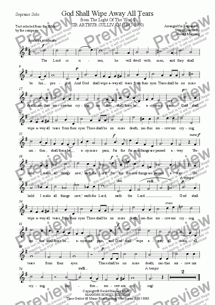 page one of the Soprano part from Reliquary of Sacred Music - Sullivan, A. - God Shall Wipe Away All Tears - arr. for Soprano & String Quartet by Gerald Manning