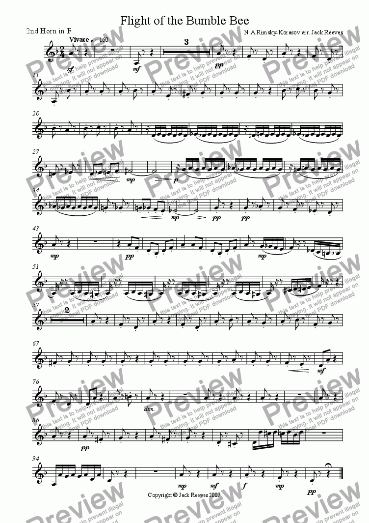 page one of the 2nd Horn in F part from Flight of the Bumble Bee (Orchestra - Trumpet Solo)