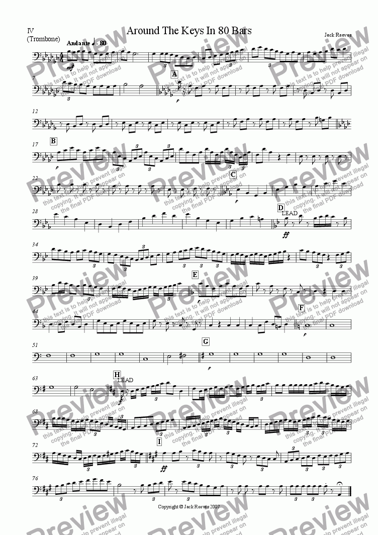 page one of the Trombone part from Around The Keys In 80 Bars (Jazz Combo)