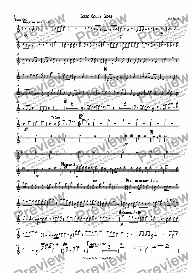 page one of the Tenor Saxophone part from Good Golly Gosh (Jazz Combo)