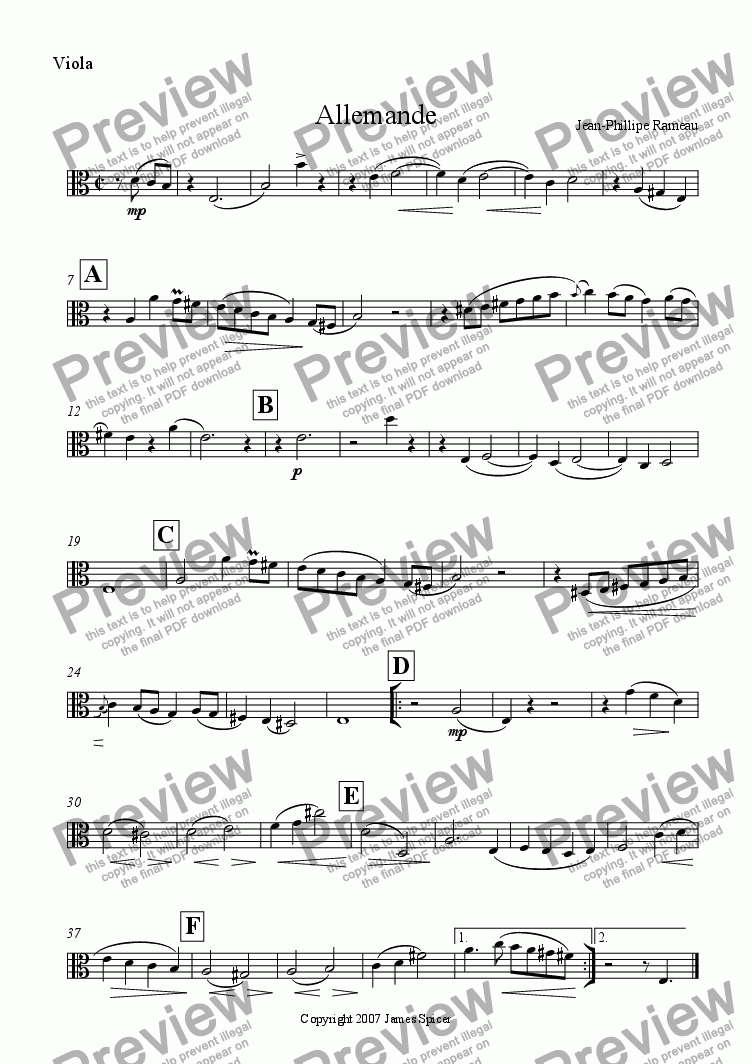 page one of the Viola part from Allemande