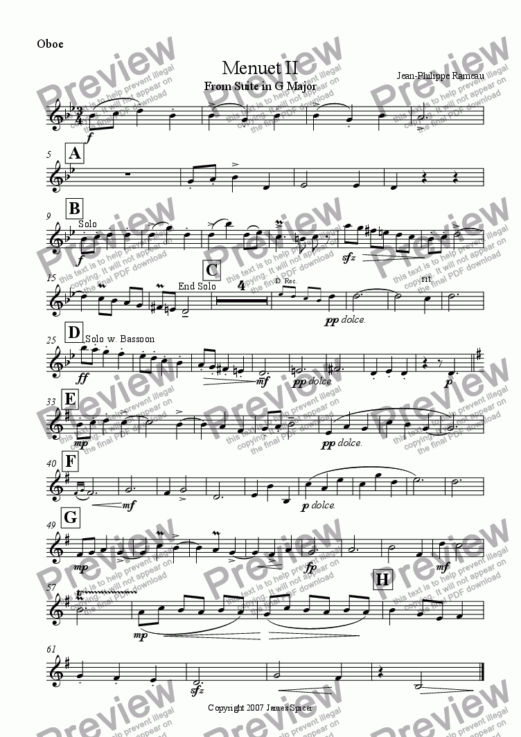 page one of the Oboe part from Menuet II