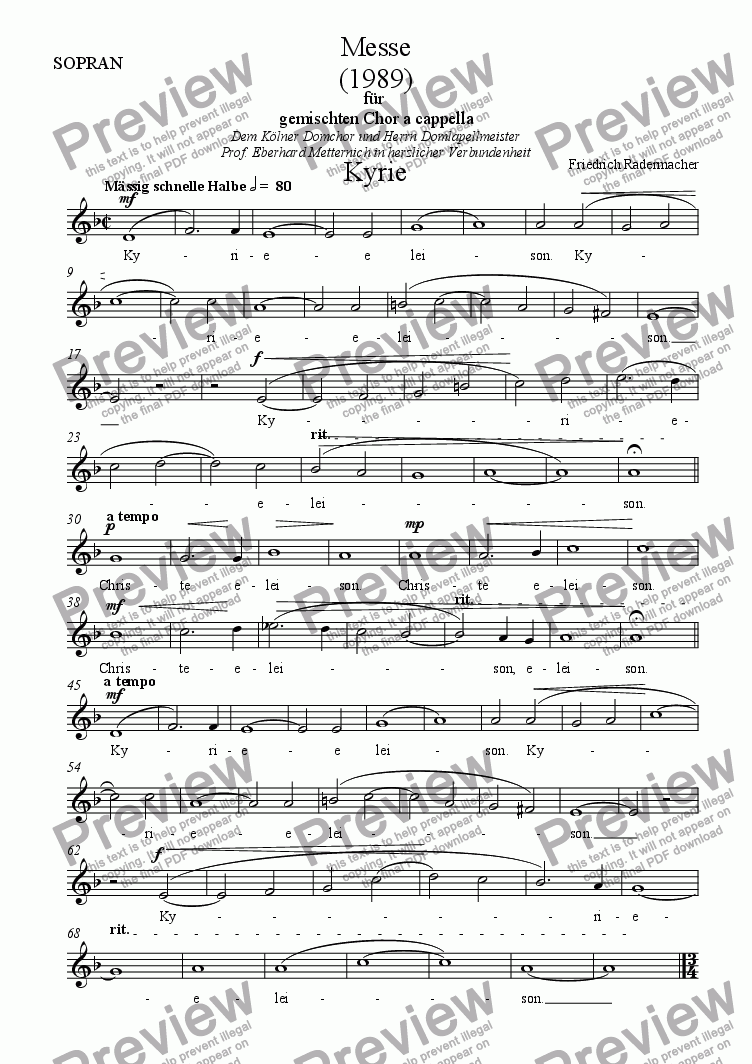 page one of the Sopran part from Messe 1989