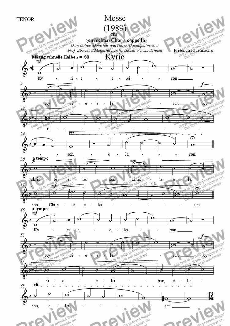 page one of the Tenor part from Messe 1989