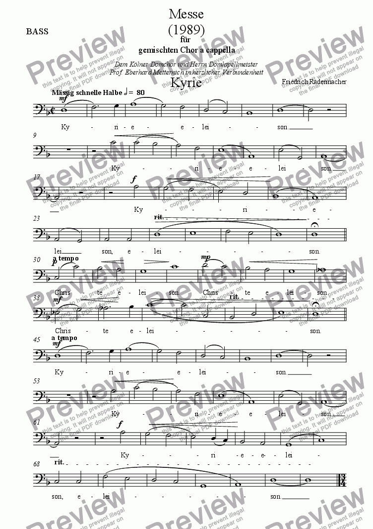 page one of the Bass part from Messe 1989