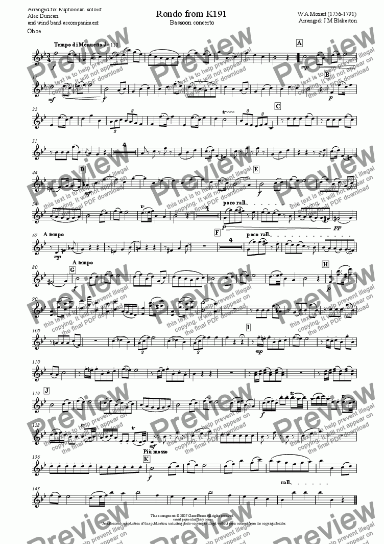page one of the Oboe part from Rondo from K191 Bassoon Concerto (wind band)