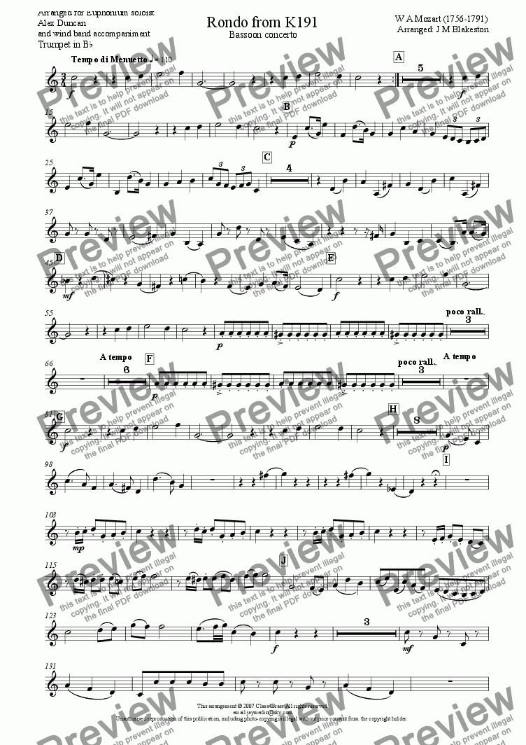 page one of the Trumpet in Bb part from Rondo from K191 Bassoon Concerto (wind band)