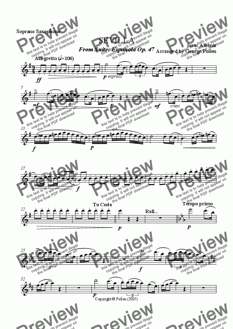 page one of the Soprano Saxophone part from Sevilla [Suite Espanola Op. 47] (Saxophone quartet)