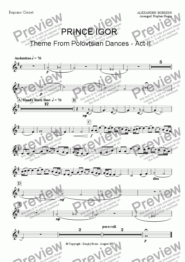 page one of the Repiano Cornet part from Prince Igor (Theme from Polovtsian Dances Act II) Brass Band