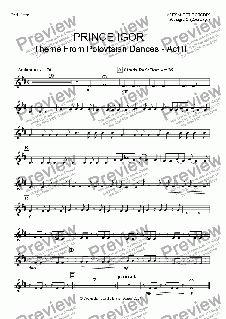 page one of the 2nd Horn part from Prince Igor (Theme from Polovtsian Dances Act II) Brass Band
