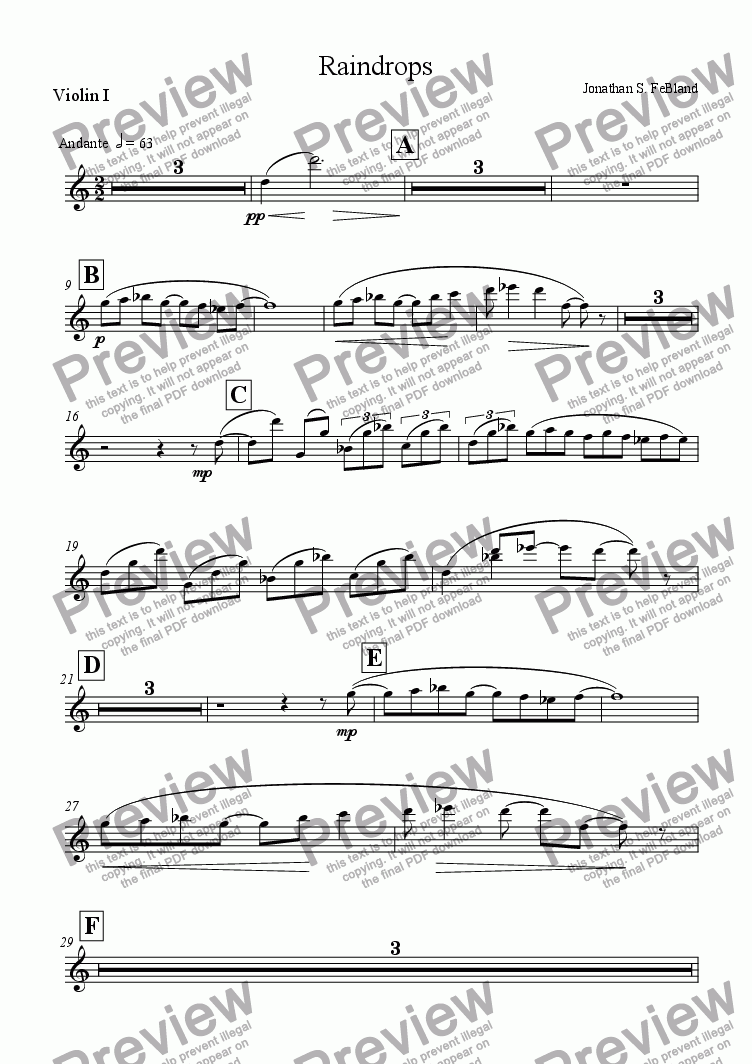 page one of the Violin I part from Raindrops (solo 'Cello & strings)