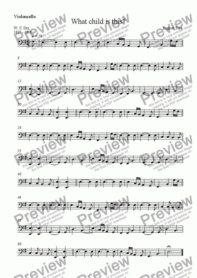 page one of the 'cello part from What child is this?