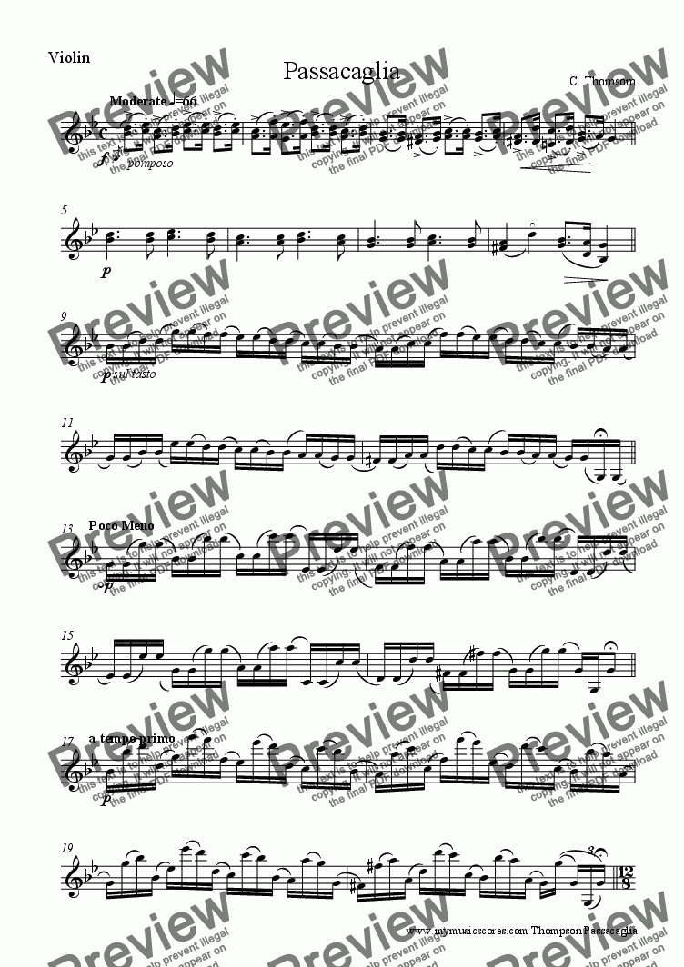 page one of the Violin part from Handel Passacaglia for Violin and Piano