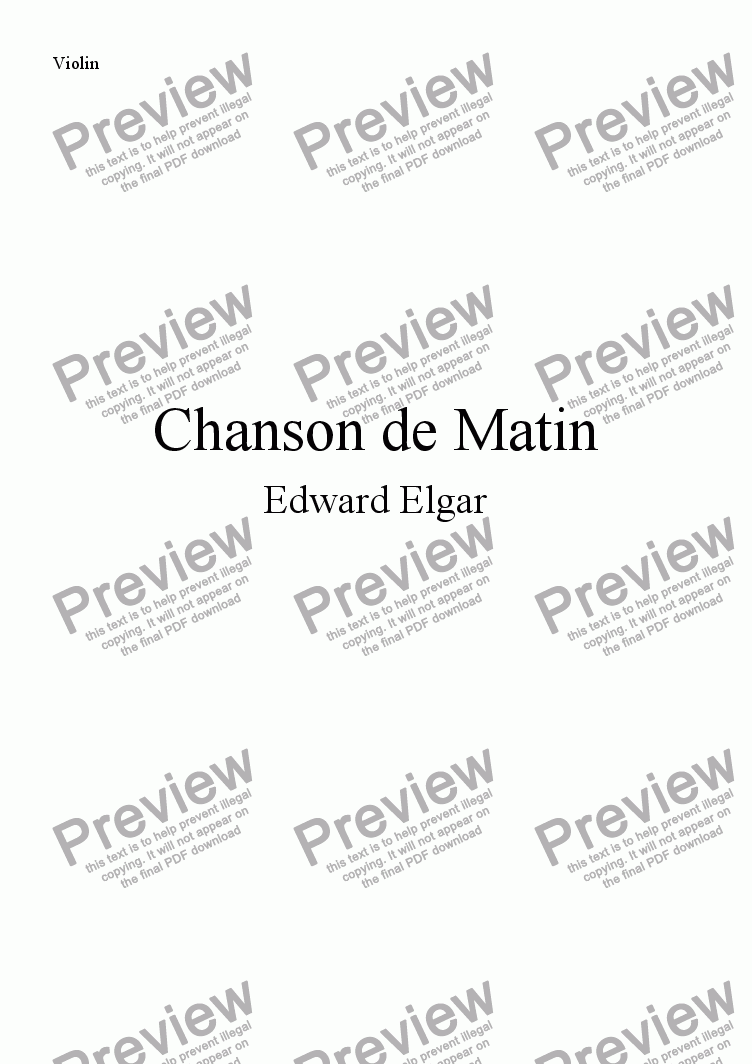 page one of the Violin part from Chanson de Matin (Flute and Guitar)