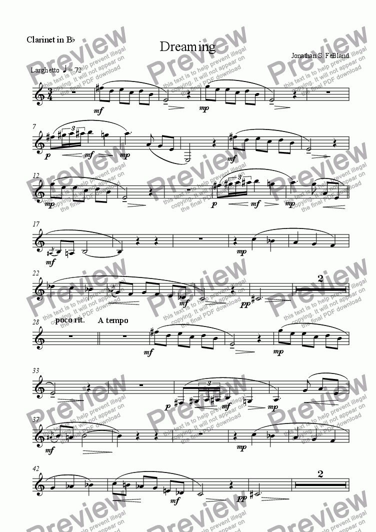page one of the Clarinet in B flat part from Dreaming (trio)