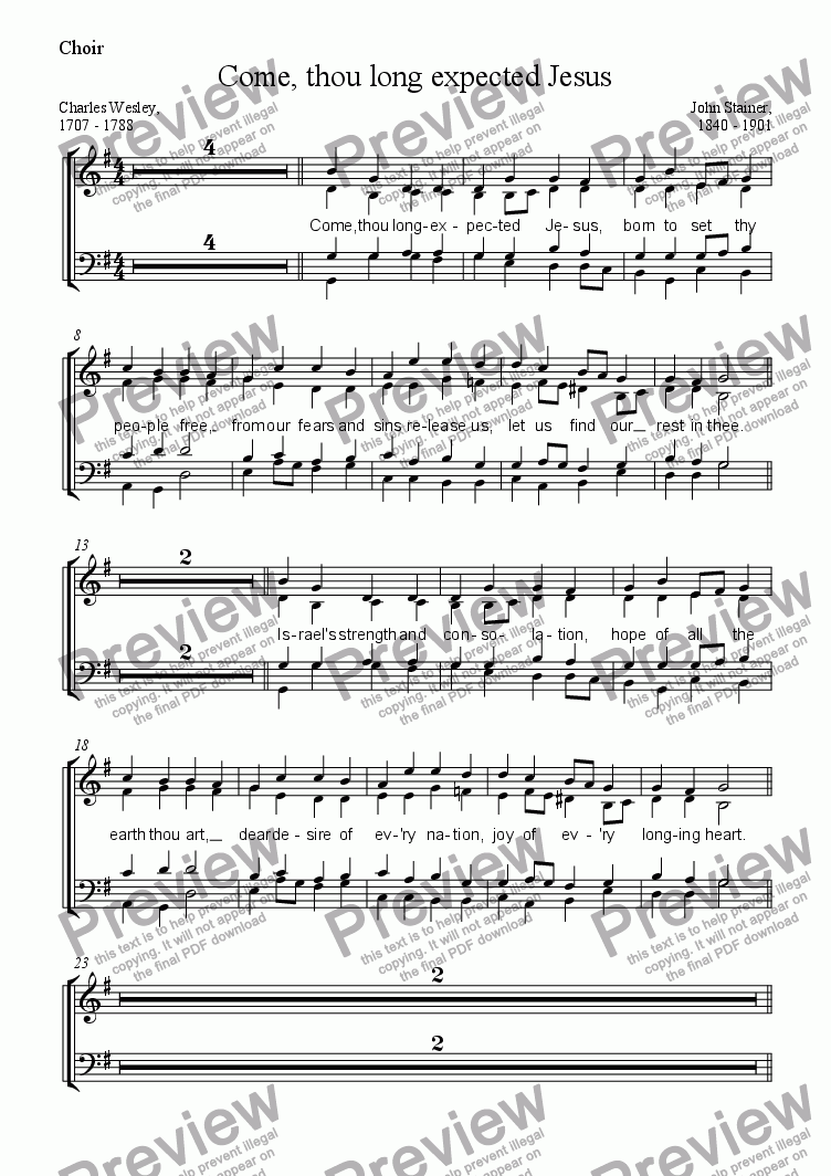 page one of the Choir part from Come, thou long expected Jesus