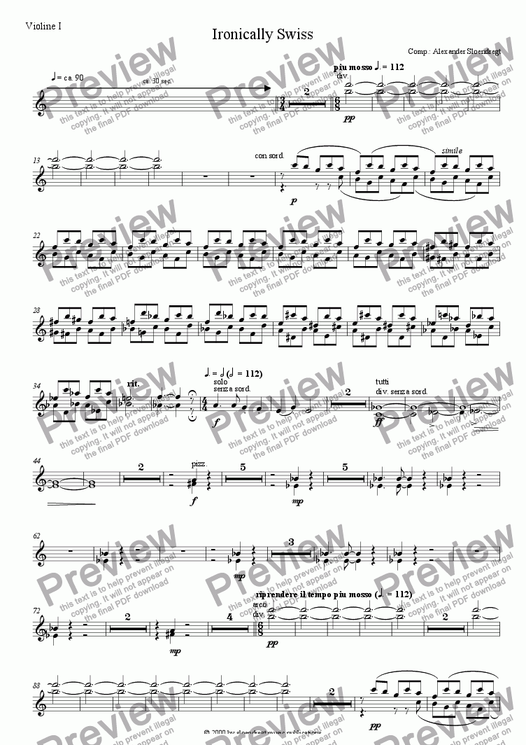 page one of the violin 1 part from Ironically Swiss