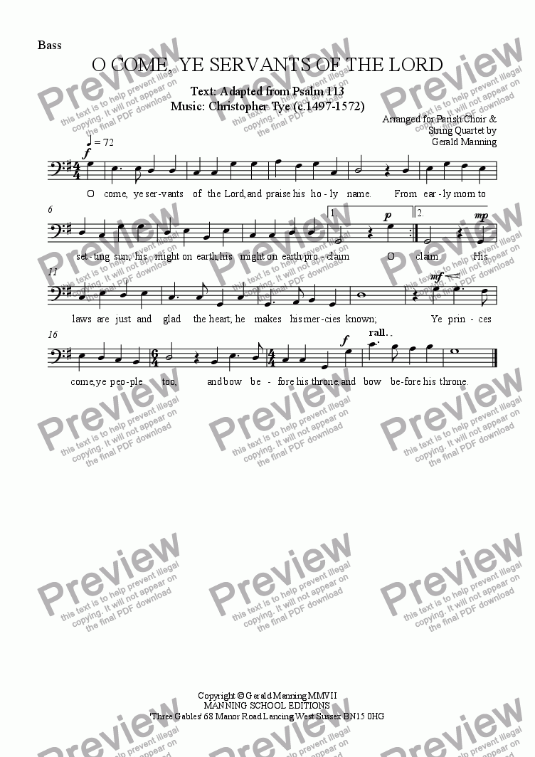 page one of the Bass part from Anthems For All Occasions -  O Come, Ye Servants Of The Lord - Tye, Christopher. - arr. for Parish Choir & String Quartet by Gerald Manning