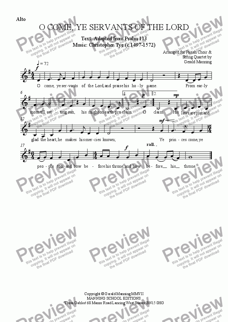 page one of the Alto part from Anthems For All Occasions -  O Come, Ye Servants Of The Lord - Tye, Christopher. - arr. for Parish Choir & String Quartet by Gerald Manning