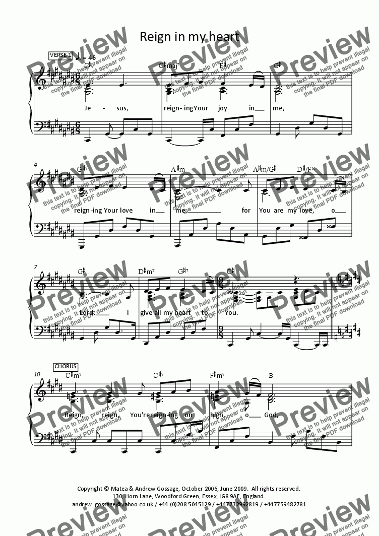 page one of the Piano part from Reign in my heart