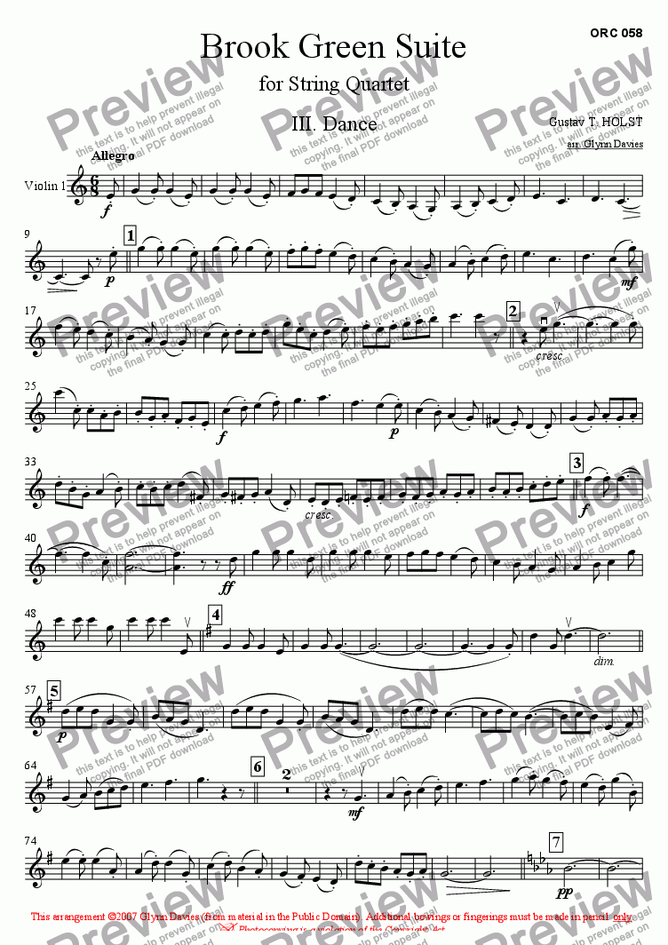 page one of the Violin 1 part from Brook Green Suite - 3. Dance