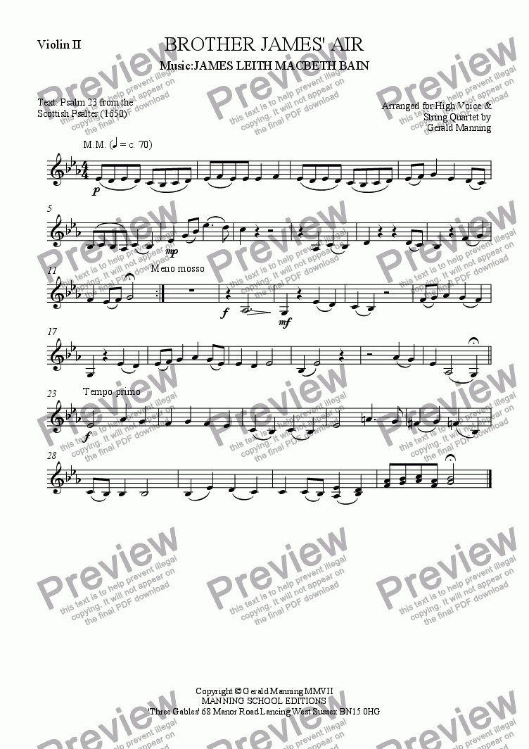 page one of the Violin II part from Reliquary of Sacred Music - Bain, James Leith Macbeth.- Brother James' Air - arr. for High Voice & String Quartet  by Gerald Manning