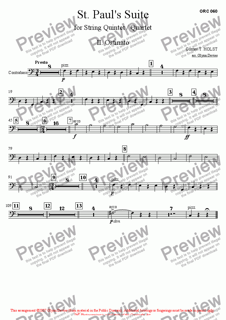 page one of the Bass part from St. Paul's Suite - 2. Ostinato