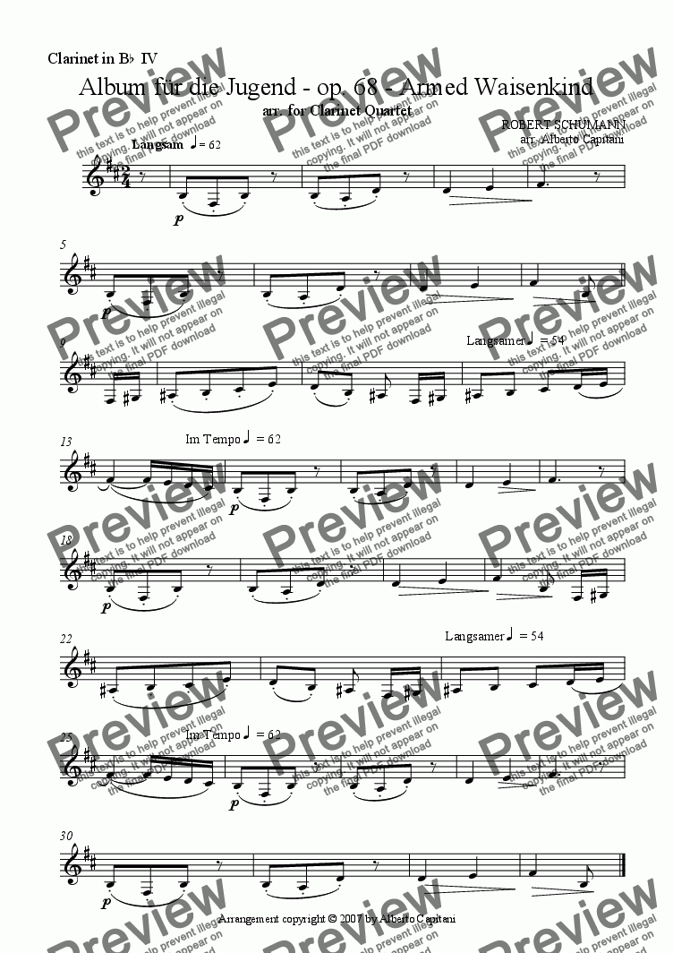 page one of the Clarinet in Bb IV part from Album für die Jugend - op. 68 - Armed Waisenkind - arr. for Clarinet Quartet