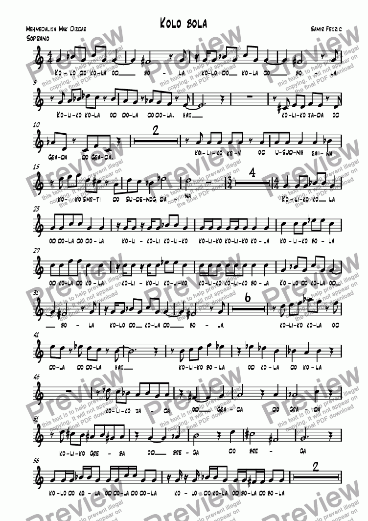 page one of the soprano 1 part from Kolo bola