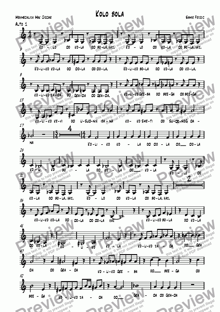 page one of the alto 1 part from Kolo bola
