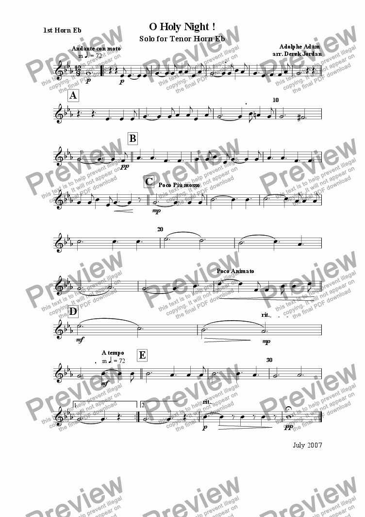 page one of the 1st. Horn Eb part from O Holy Night !
