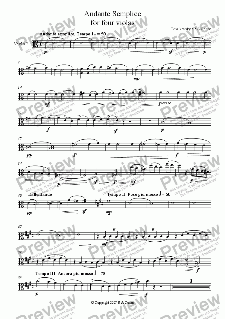 page one of the Viola 2 part from Tchaikovsky/Cohen - ANDANTE SEMPLICE - for viola quartet