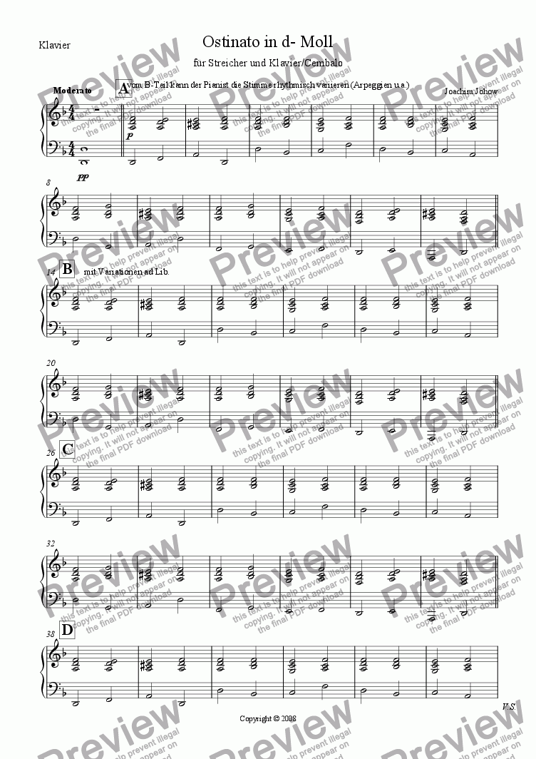 page one of the Piano Harpsichord part from Ostinato in d-Moll (Strings and Piano)