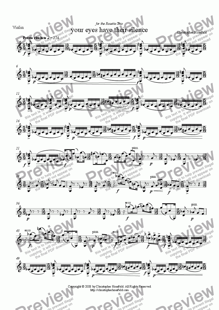 page one of the Violin part from your eyes have their silence