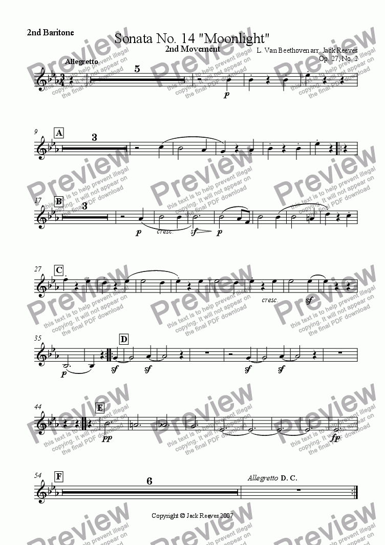 page one of the 2nd Baritone part from Moonlight Sonata - 2nd Movement (C# Major) - Brass Band
