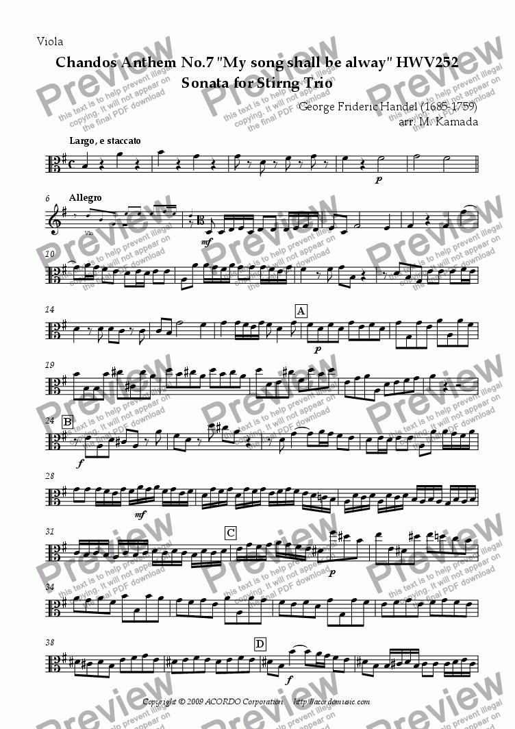 "page one of the Viola part from Chandos Anthem No.7 ""My song shall be alway"" HWV252 Sonata for String Trio"