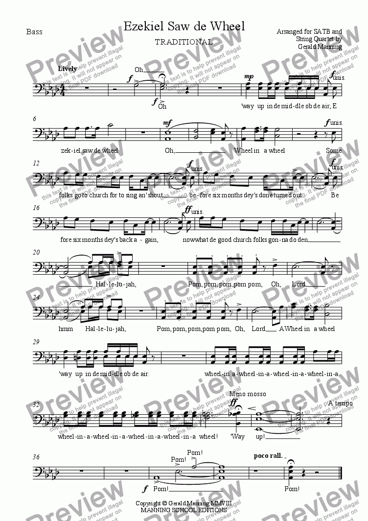 page one of the Bass part from African-American Spirituals - Ezekiel Saw de Wheel - arranged for SATB & String Quartet by Gerald Manning