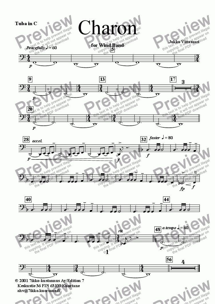 page one of the Tuba in C part from Charon (wind band)