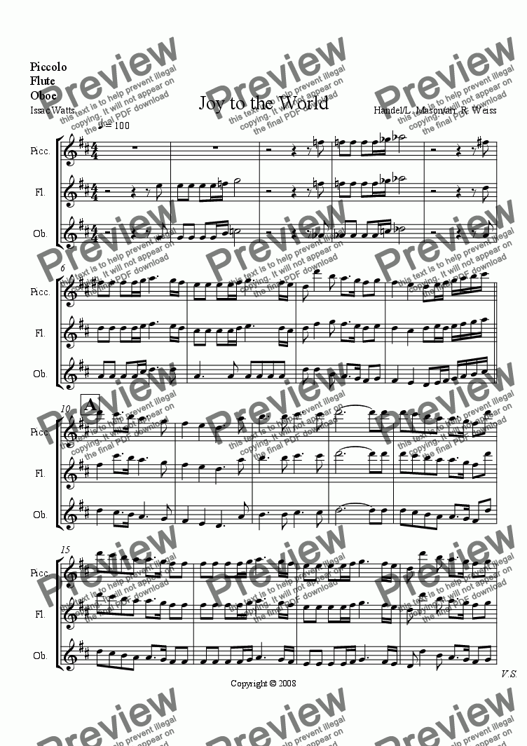 page one of the Piccolo flute & oboe part from Joy to the World (for choir w/Wind Ens. acc.)
