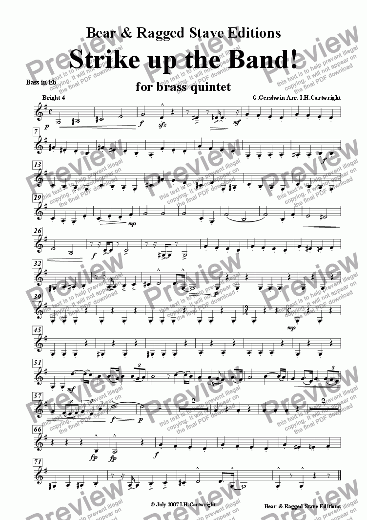 page one of the Bass in Eb part from Strike up the band! for brass quintet