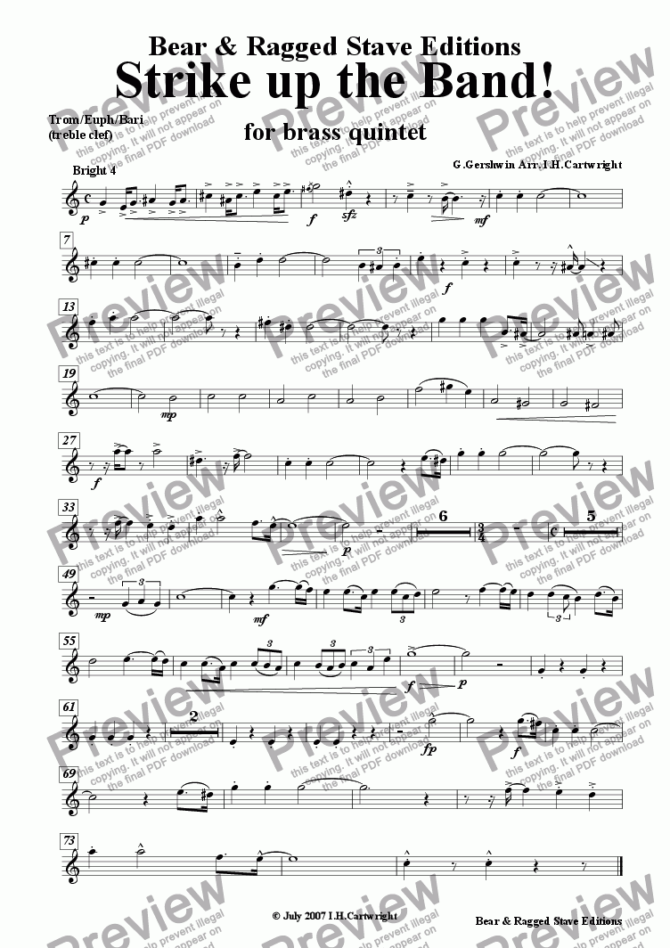 page one of the Trom/euph/Bari (treble clef) part from Strike up the band! for brass quintet