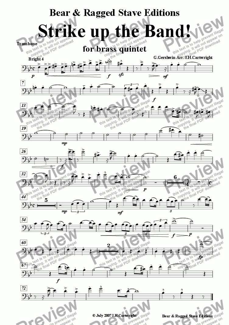 page one of the Trombone part from Strike up the band! for brass quintet