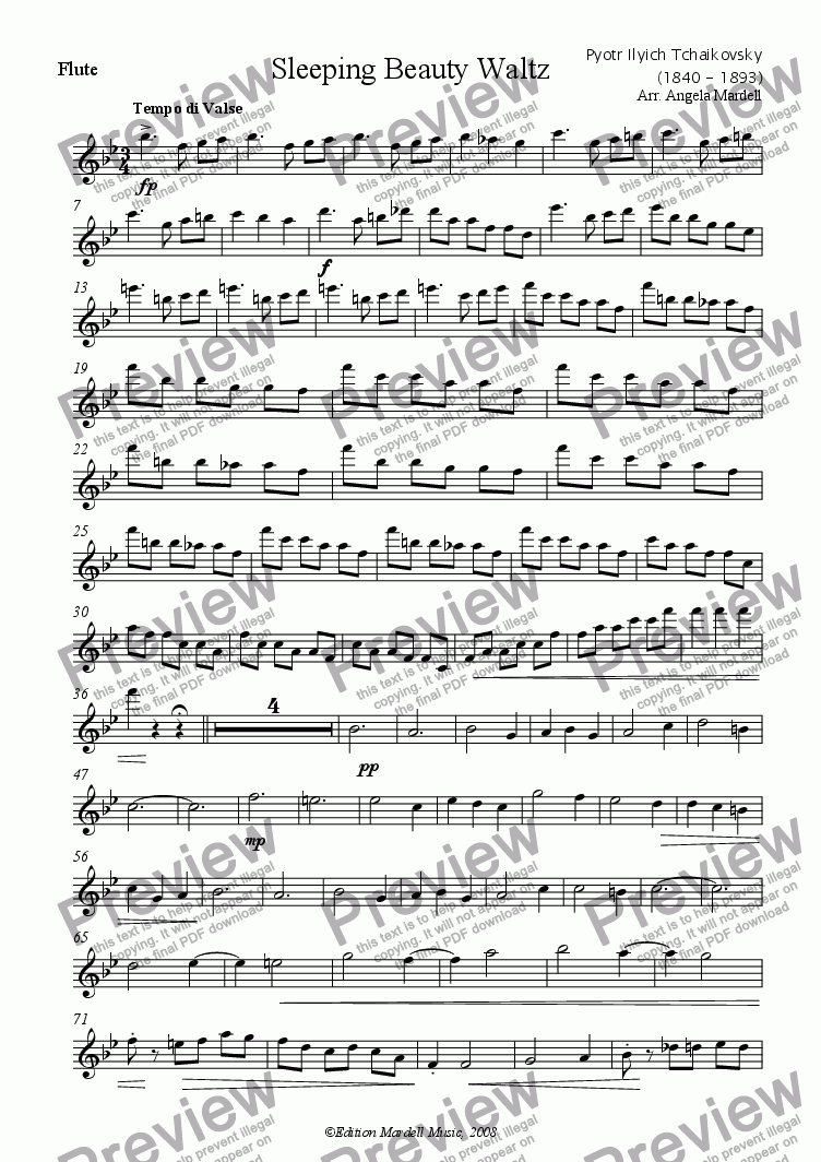 page one of the Flute part from Sleeping Beauty Waltz (Difficult)