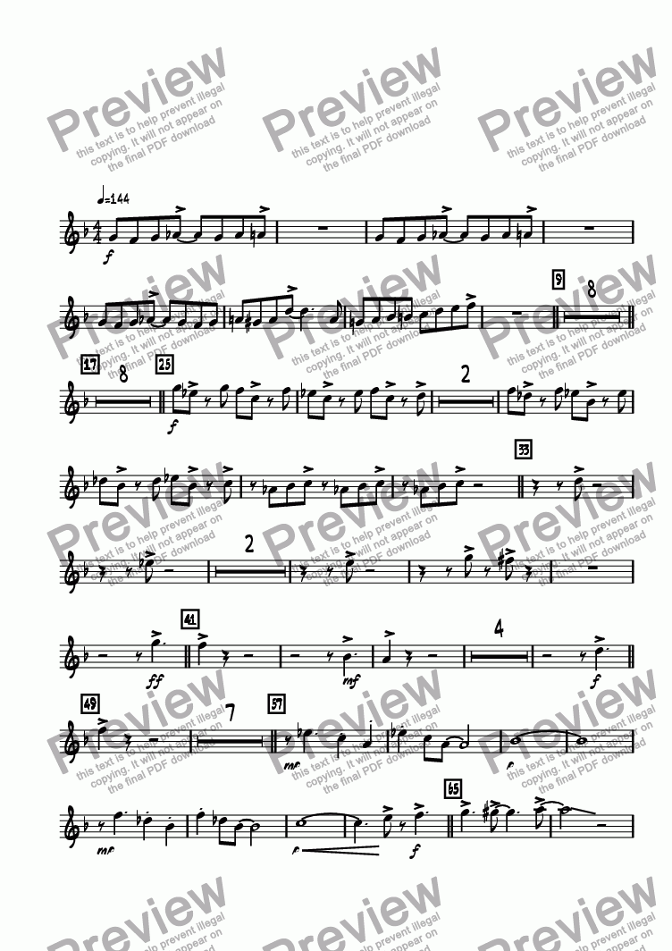 page one of the Trumpet 1 part from Swing Shift