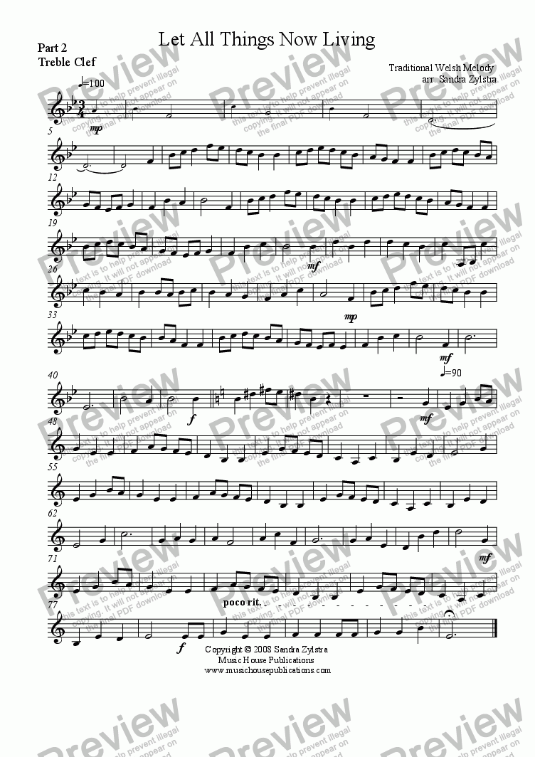 page one of the Let All Things Now Living - Part 2 Treble part from Instant Ensemble:  Let All Things Now Living